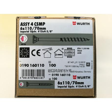 Würth ASSY 4 CSMP Universalschraube Stahl verzinkt Teilgewinde Senkfrästaschenkopf 6 x 110