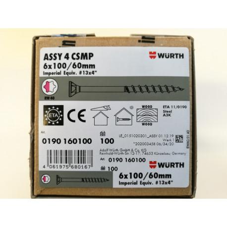 Würth ASSY 4 CSMP Universalschraube Stahl verzinkt Teilgewinde Senkfrästaschenkopf 6 x 100